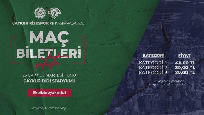 Çaykur Rizespor-Kasımpaşa Maçı Biletleri Satışta